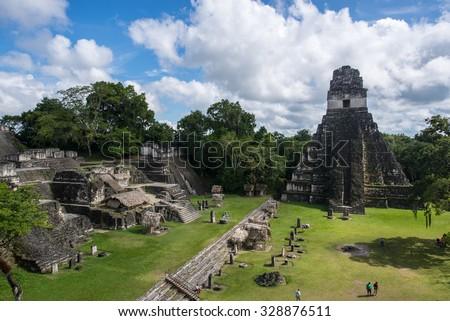 Pyramid of Tikal, one of mayan site in Guatemala - stock photo