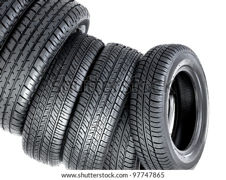 Pyramid of tires - stock photo