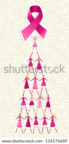 Pyramid of women holding one pink breast cancer ribbon on icon set background. - stock photo