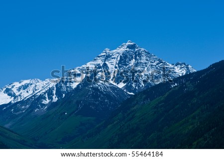Pyramid Peak, a 14,000' mountain near Aspen, Colorado - stock photo