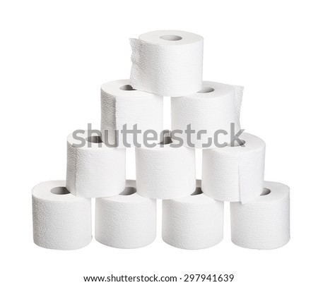 pyramid pile rolls of toilet paper isolated on white background - stock photo