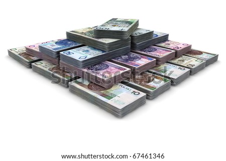 Pyramid scheme - Polish banknotes, ten, twenty, fifty and a hundred. - stock photo