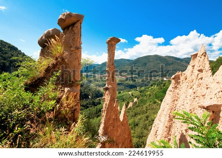 Pyramid Segonzano. Alps, Trento, province of Trentino-Alto Adiges, Bolzano, Italy  - stock photo