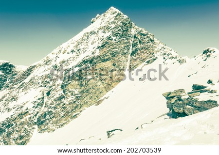 Pyramid shaped mountain top, Ankogel, Austria - stock photo