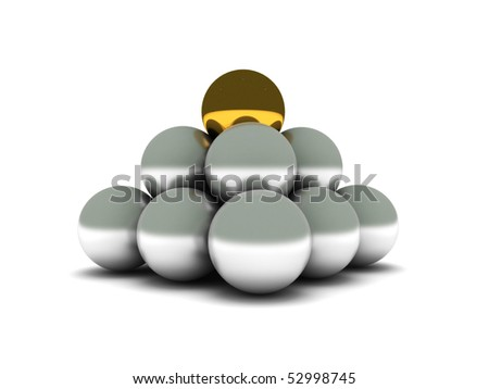 Pyramid. Silver balls and golden ball on the top. High quality 3d render. - stock photo