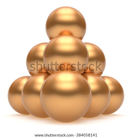 Pyramid sphere ball hierarchy corporation top order leadership element teamwork stable group business concept gold golden yellow shiny sparkling. 3d render isolated - stock photo