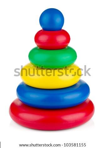 Pyramid toy. Isolated on white background - stock photo