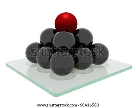 Pyramid wich consist from the mirrored balls with a red ball on top, standing on a glass base and isolated on a white background