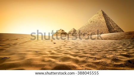 Pyramids in sand - stock photo