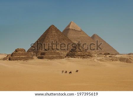 Pyramids of Giza in Cairo, Egypt - stock photo