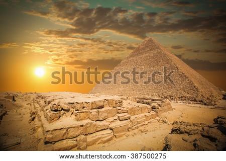 pyramids of the pharaohs in Giza. Cairo, Egypt - stock photo