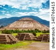 Pyramids of the Sun and Moon on the Avenue of the Dead, Teotihuacan ancient historic cultural city, old ruins of Aztec civilization, Mexico, North America, world travel - stock photo