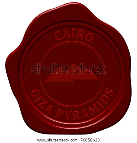 Pyramids sealing wax stamp for design use. - stock photo