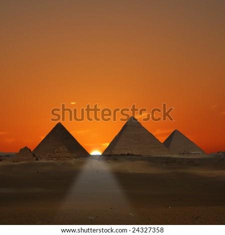 Pyramids Sunrise (Giza, Egypt) - stock photo