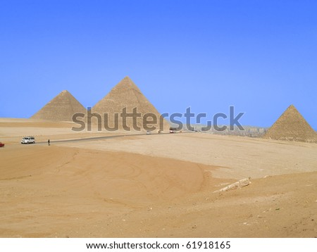 Pyramids, wonders of the world located in Cairo, Egypt.