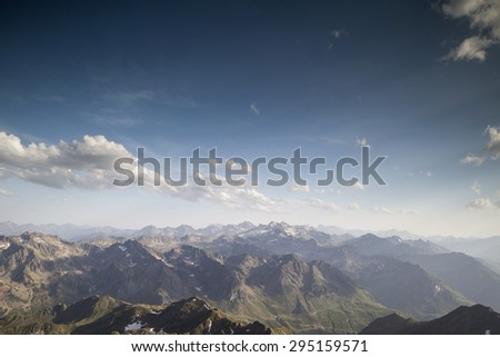 pyrenees from pic du midi observatory summit at 2800m in france - stock photo