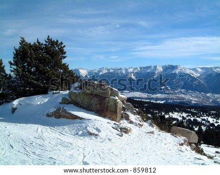 Pyrenees from Roc de la Calme, Font Romeu. Good skiing centre in the French Pyrenees
