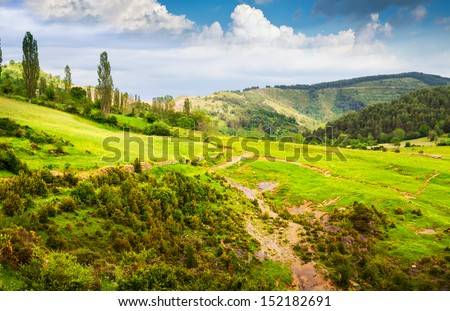 Pyrenees mountains landscape in summer. Huesca, Agaron - stock photo
