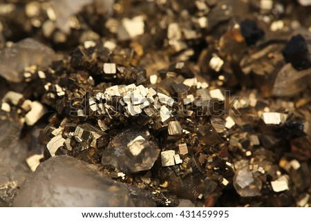 pyrite and crystals mineral/pyrite and crystals mineral - stock photo
