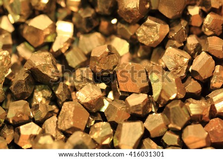 pyrite mineral collection as very nice golden texture  - stock photo