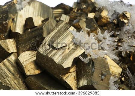 pyrite mineral crystal/pyrite mineral crystal - stock photo