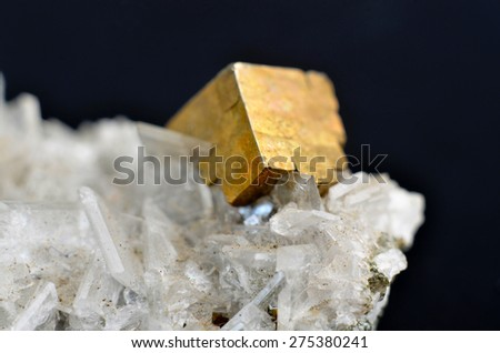 Pyrite mineral on apophyllite. macro photography 8:1 - stock photo