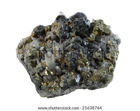 Pyrite with quartz crystals - stock photo