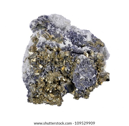 Pyrites druse with galena, calcite, quartz,a white background