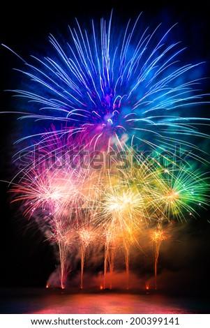 pyrotechnics explosion  - stock photo