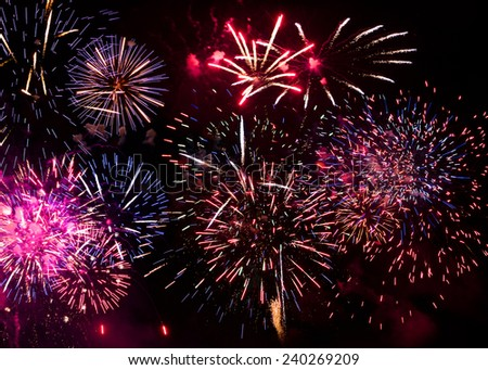 Pyrotechnics, firecrackers, firework display during the celebration of a great feast. - stock photo