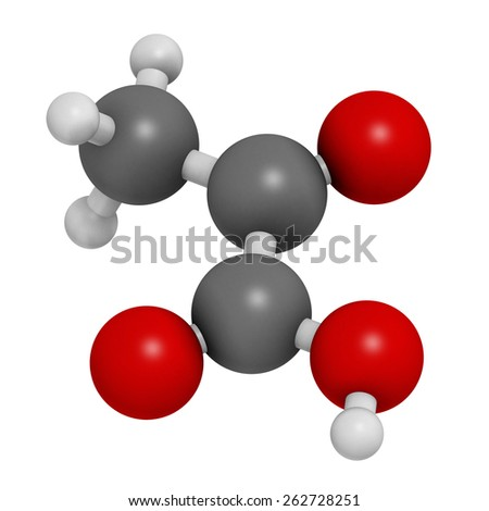 Pyruvic acid (pyruvate) molecule. Important intermediate in a number of biochemical processes. Atoms are represented as spheres with conventional color coding: hydrogen (white), carbon (grey) ,etc  - stock photo