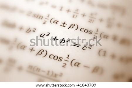 Pythagoras equation - stock photo