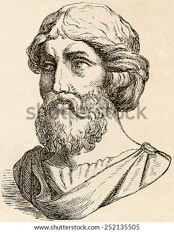 PYTHAGORAS, printed engraving of the 6th century BC mathematician and philosopher, born 569 BC in Samos, Ionia (Italy), died around 475 BC.