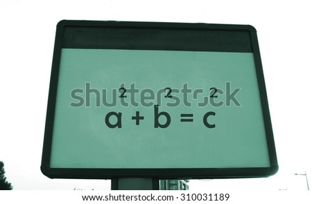 Pythagoras 's theorem on a billboard - stock photo