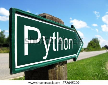 Python (programming language) signpost along a rural road - stock photo