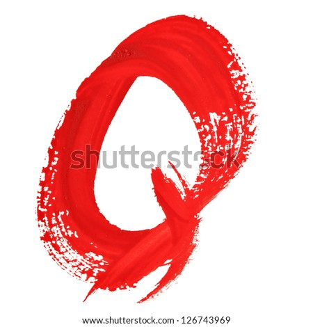 Q - Red handwritten letters over white background
