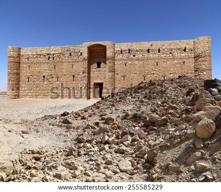 Qasr Kharana (Kharanah or Harrana), the desert castle in eastern Jordan (100 km of Amman). Built in 8th century AD to be used as caravanserai, a resting place for traders - stock photo