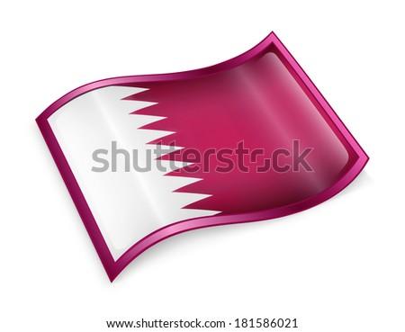 Qatar flag icon, isolated on white background - stock photo