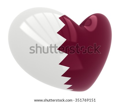 Qatar flag in heart shape isolated on white background - stock photo
