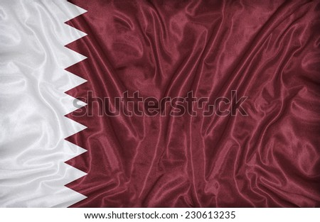 Qatar flag pattern on the fabric texture ,vintage style - stock photo