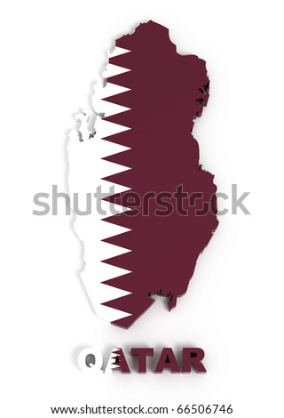 Qatar, map with flag, isolated on white with clipping path, 3d illustration - stock photo