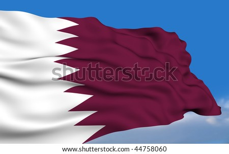Qatari flag waving on wind - stock photo