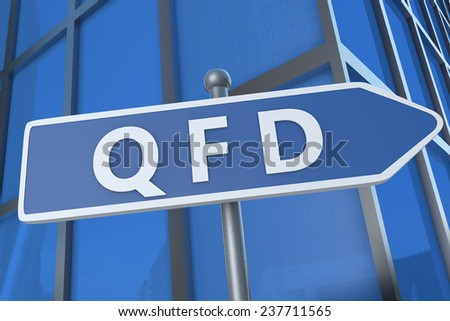 QFD - Quality Function Deployment - illustration with street sign in front of office building. - stock photo
