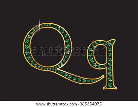 Qq in stunning emerald precious round jewels set into a 2-level gold gradient channel setting, isolated on black. High-resolution raster JPEG version.  - stock photo