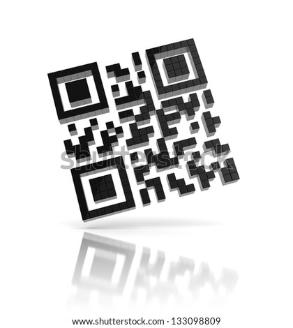 QR code 3d icon - stock photo