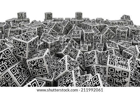 QR code dice pile with qr codes for numbers 1 through 6 on sides - stock photo