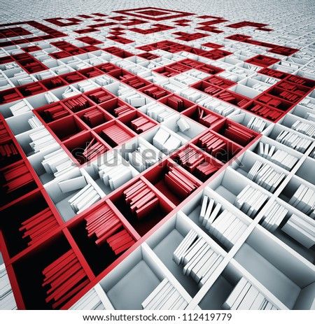 QR code in matrix of bookshelves (illustrated concept) - stock photo