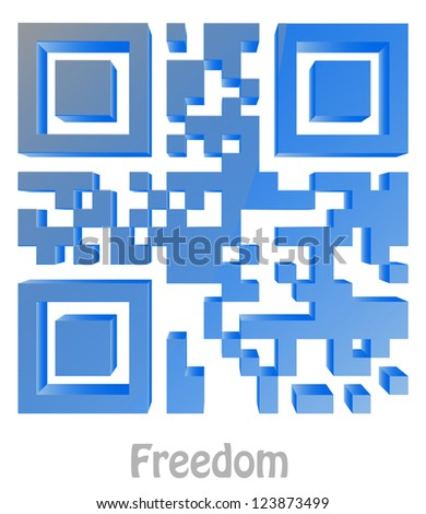 "QR Code of ""Freedom"" - stock photo"