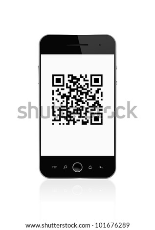 QR code on mobile smart phone with clipping path for the outline and screen - stock photo