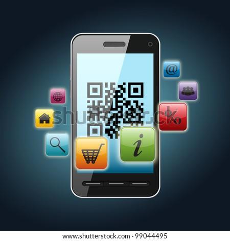 qr code on smartphone screen over dark background - stock photo